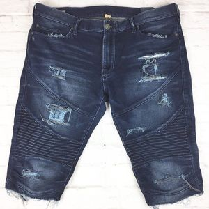 True Religion Geno Moto Distressed Shorts Denim